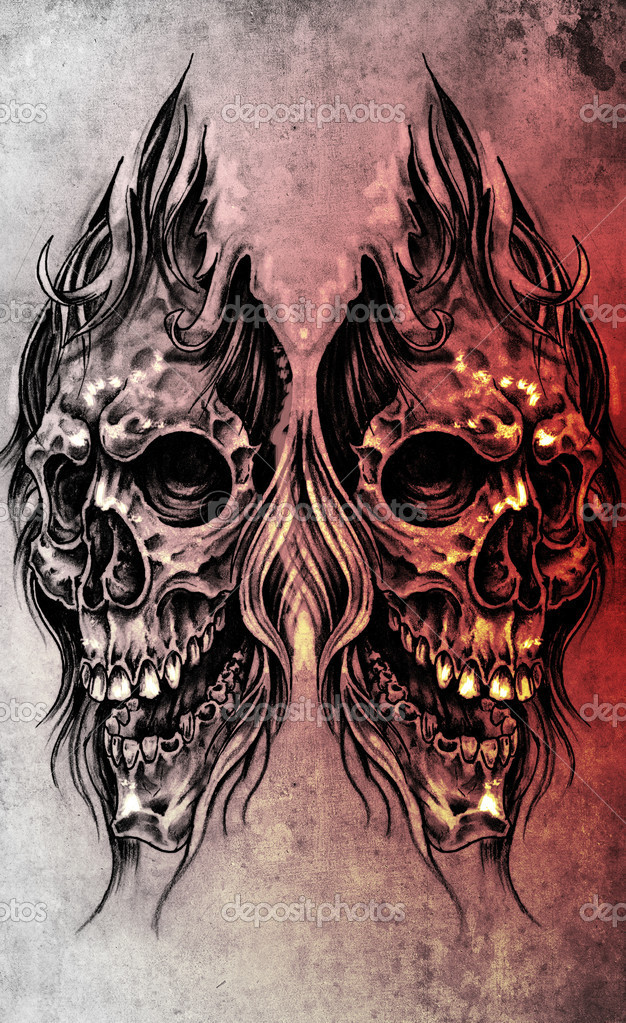 Sketch of tattoo art, skull head illustration, over colorful pap ...