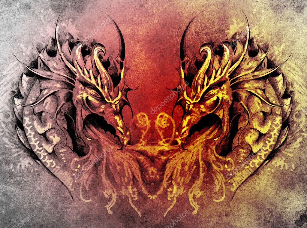 kunst fantasie mittelalterlichen drachen herz tattoo. Black Bedroom Furniture Sets. Home Design Ideas