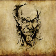 Tattoo art, sketch of a devil head — Foto Stock