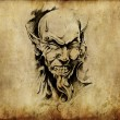 Tattoo art, sketch of a devil head — Foto de Stock
