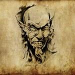 Tattoo art, sketch of a devil head — Stock Photo #8662416