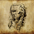 Tattoo art, sketch of an american indian head — Stock Photo #8662563