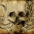 Tattoo art, sketch of skull with tribal designs — Stock Photo #8662977