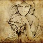Tattoo art, sketch of mistic woman — Stock Photo #8663318