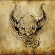 Tattoo art, sketch of a devil over vintage background — Stock Photo