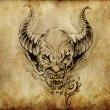 Tattoo art, sketch of a devil over vintage background - Stock Photo