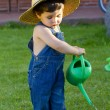 Little baby boy gardener playing in his front yard — Stock Photo