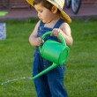 Little baby boy gardener playing in his front yard — Stock Photo #8664132