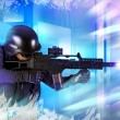 Stock Photo: Paintball fighter. Soft air, paintball