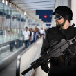 Airport security, armed police - Stockfoto