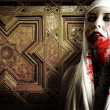 Stock Photo: Female vampire with blood stains. Gothic Image halloween