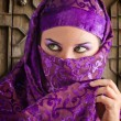 Woman dressed in Arab costume, castle gate in the background — Stock Photo #8667588