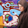 Young boy  before graffiti - Stock Photo