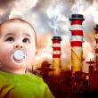 A global warming picture with a Child looking at the sky. - Stock Photo