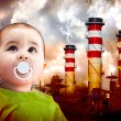 Stock Photo: Global warming picture with Child looking at sky.