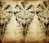 Tattoo art, sketch of a gargoyle over vintage background — Stock Photo