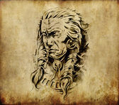 Tattoo art, sketch of an american indian head — Stock Photo