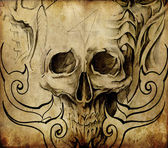 Tattoo art, sketch of skull with tribal designs — Stock Photo