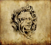 Tattoo art, sketch of a classic head — Stock Photo