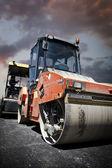 Heavy Vibration roller at asphalt pavement works (road repairing — Stock Photo