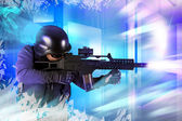 Paintball fighter. Soft air, paintball — Stock Photo