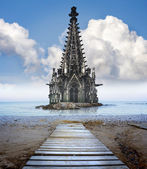Concept pour le réchauffement climatique. une cathédrale que moitié coulée dans une mer de wa — Photo