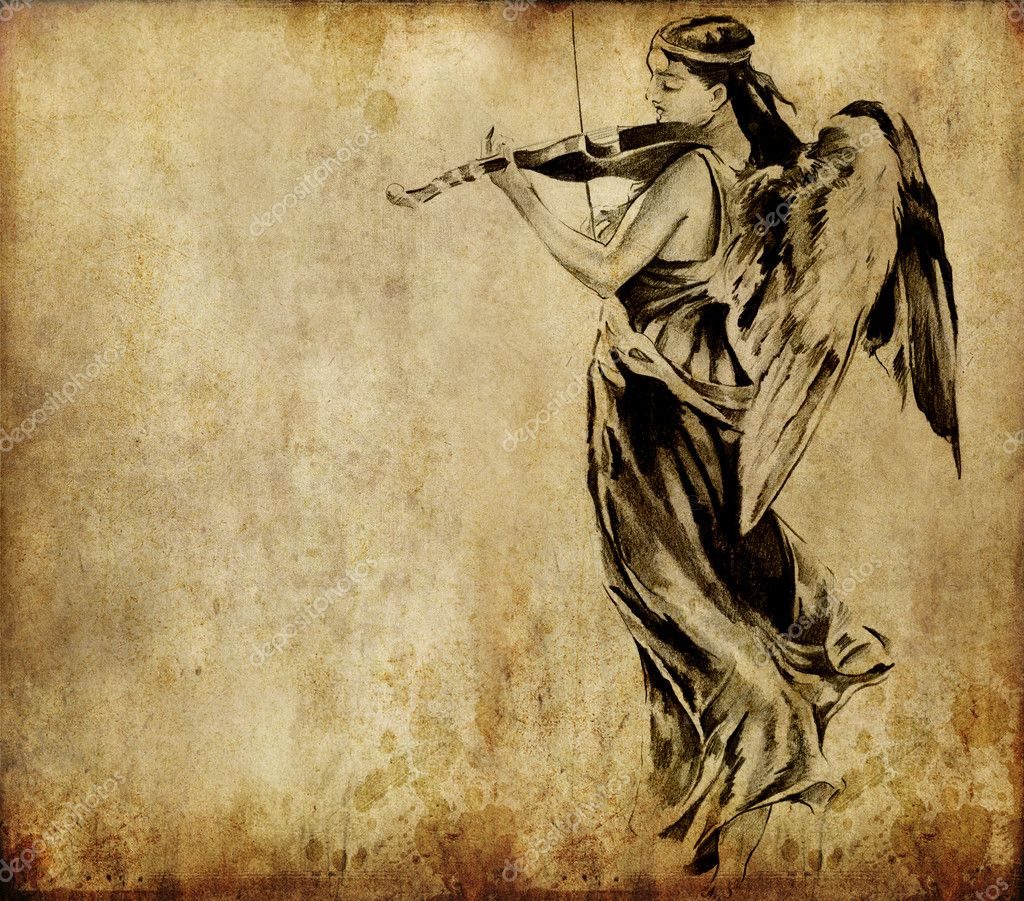 Tattoo art, sketch of an angel over vintage background - Stock Image