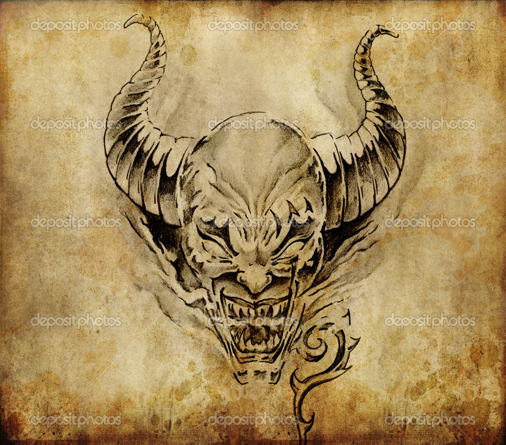 Tattoo art, sketch of a devil over vintage background - Stock Image