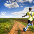 Freedom. Boy playing football — Stock Photo #8671297