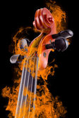 Burning violin — Stock Photo