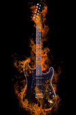 Burning Electric Guitar — 图库照片