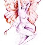 Sketch of tattoo art, nude fairy — Stock Photo
