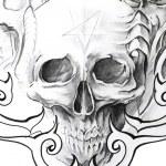 Tattoo art, sketch of a black skull — Stock Photo #8685101