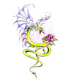 Sketch of tattoo art, dragon and rose — Stock Photo