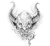 Tattoo art, sketch of a devil — Stock Photo