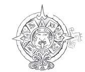 Tattoo art, sketch of a aztec sun — Stock Photo