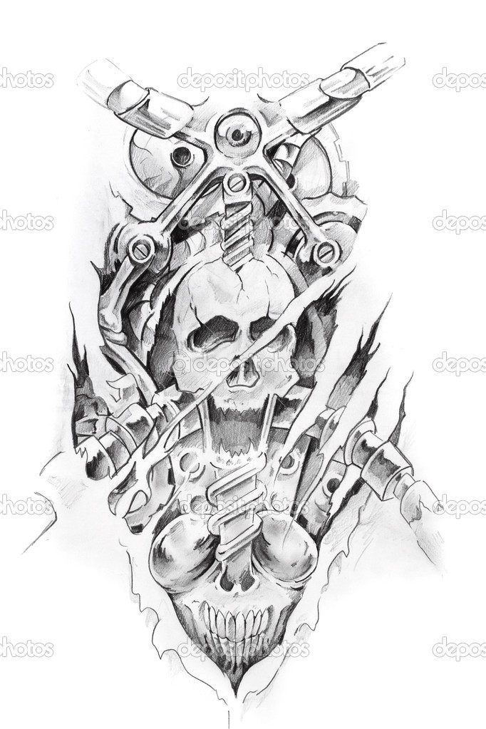 Tattoo Machine Line Drawing : Tattoo art sketch of a machine and skull — stock photo