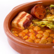 Madrid stew on earthenware pot, spanish food - Stock Photo