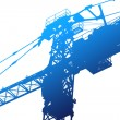 Crane,construction tower, illustration with vivid colors - Stock Photo
