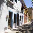 Spanish street with typical houses in Denia, Spain - Stock Photo