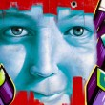 Постер, плакат: Color cartoons segment of an urban grafitti on wall