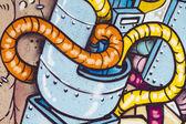 Rysunki na ścianie, segment graffiti — Zdjęcie stockowe