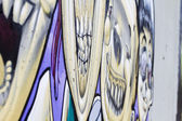 Dessins sur un mur, segment d'un graffiti — Photo