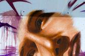 Cartoni animati di colore, segmento di un urbano graffiti sul muro — Foto Stock
