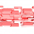 Red 3d cubes with glossy light effects — Stock Photo