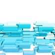 Blue 3d cubes with glossy light effects — Stock Photo