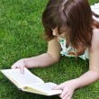 Stock Photo: Young beautiful girl reading a book outdoor
