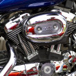 Closeup of big chromium motorcycle engine — Stock Photo #8778891