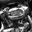Side view of a custom motorcycle engine - Foto Stock
