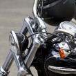 Motorbike's chromed engine. Bikes in a street — Stockfoto